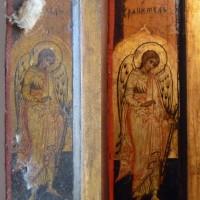 Saint Michel, détail d'une Vierge Platytera avec Oklad, Russie, XVIII° siècle, tempera sur bois