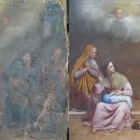 La sainte famille entourée de deux religieux, de Dieu et du St Esprit