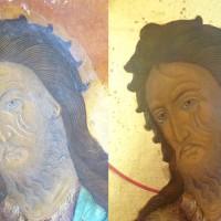 Saint Jean-Baptiste tenant le christ enfant dans sa coupe